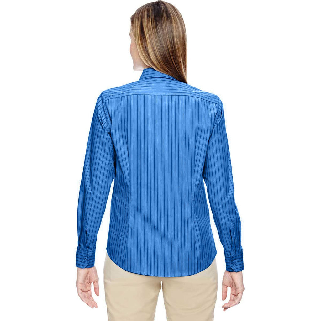 North End Women's Deep Blue Align Wrinkle-Resistant Dobby Vertical Striped Shirt