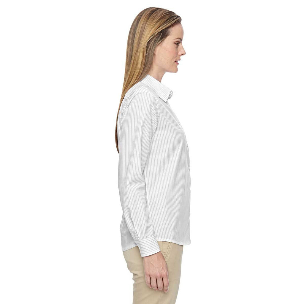 North End Women's White Align Wrinkle-Resistant Dobby Vertical Striped Shirt