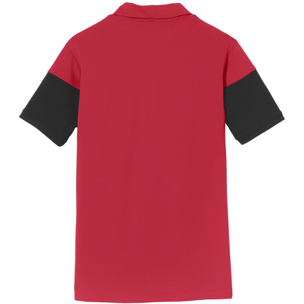 Nike Men's Red/Black Dri-FIT Colorblock Polo