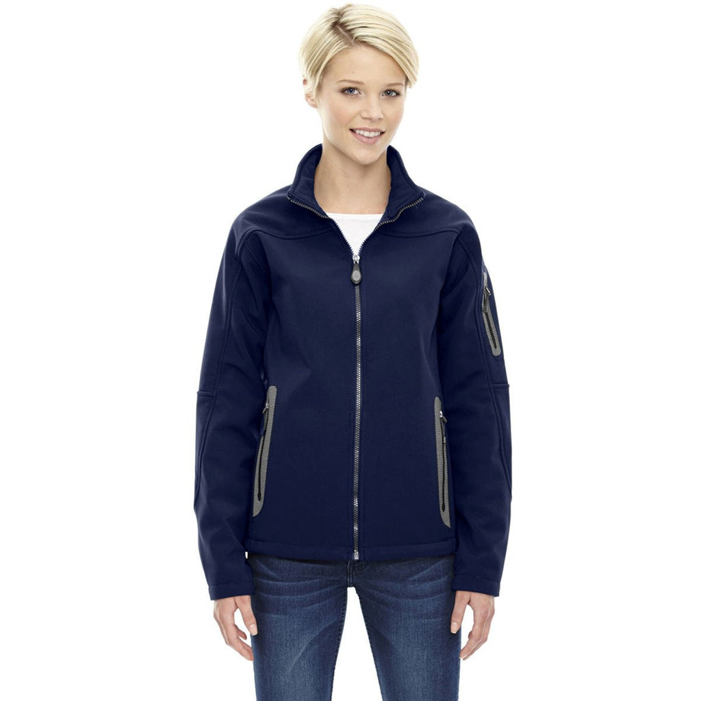 North End Women's' Classic Navy Three-Layer Fleece Bonded Soft Shell Technical Jacket