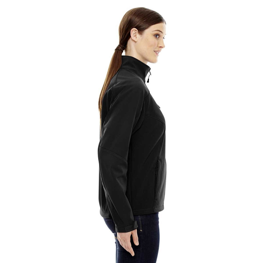 North End Women's Black Compass Colorblock Three-Layer Fleece Bonded Soft Shell Jacket