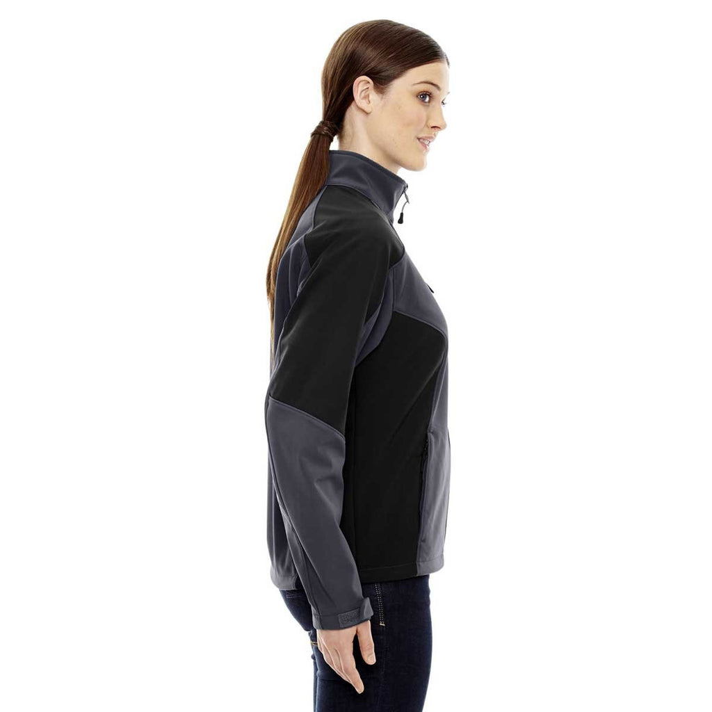 North End Women's Fossil Grey Compass Colorblock Three-Layer Fleece Bonded Soft Shell Jacket