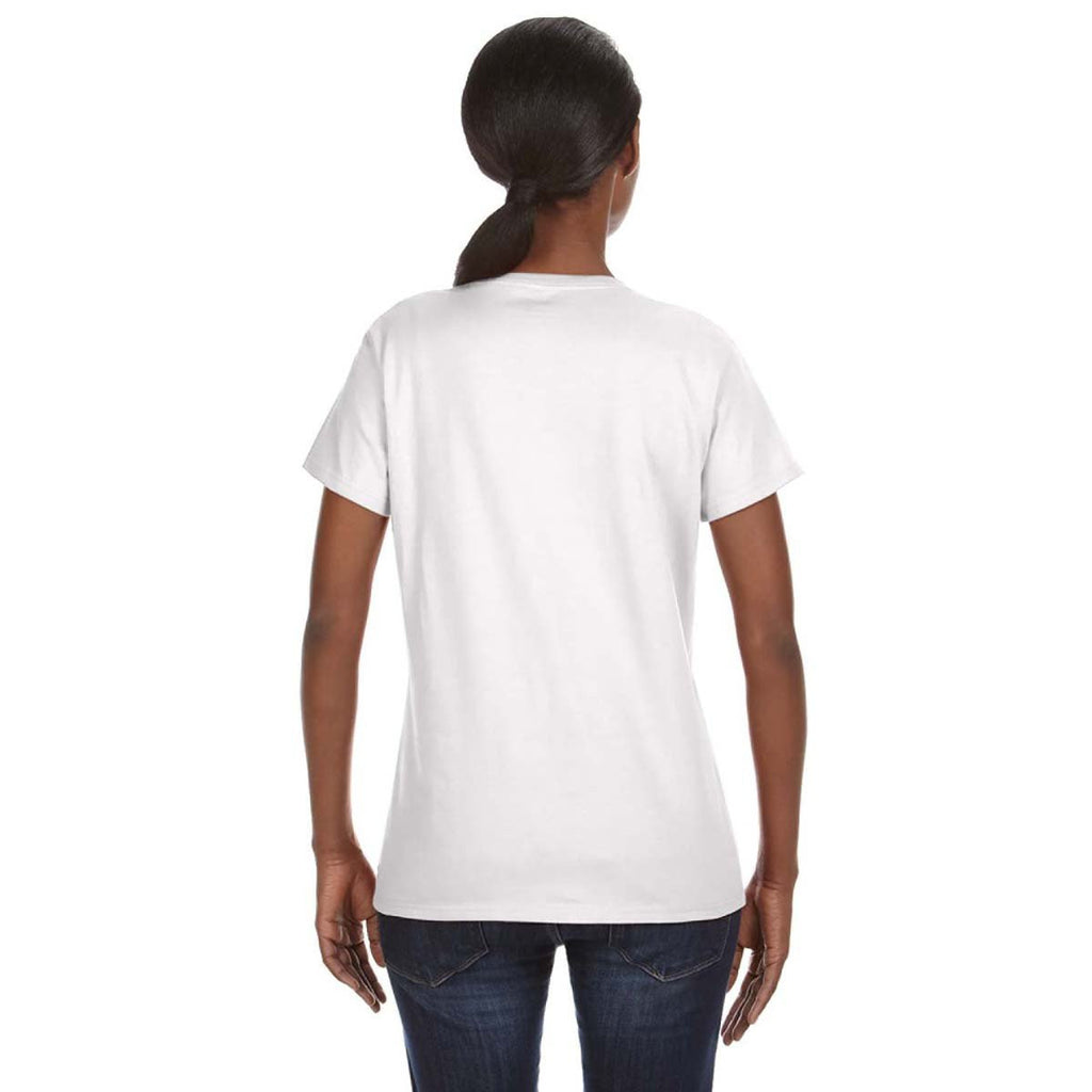 Anvil Women's White Midweight Mid-Scoop T-Shirt