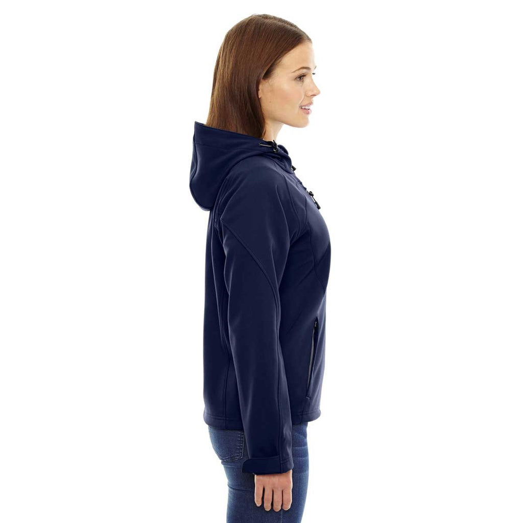 North End Women's Classic Navy Prospect Two-Layer Fleece Bonded Soft Shell Hooded Jacket