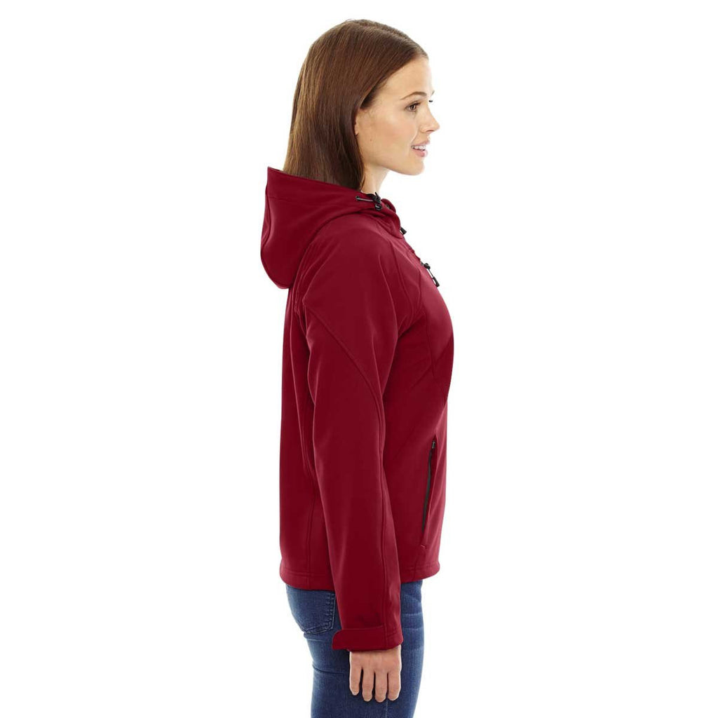 North End Women's Molten Red Prospect Two-Layer Fleece Bonded Soft Shell Hooded Jacket