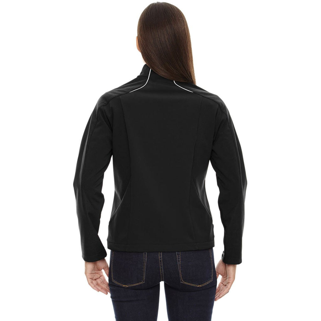 North End Women's Black Terrain Colorblock Soft Shell with Embossed Print