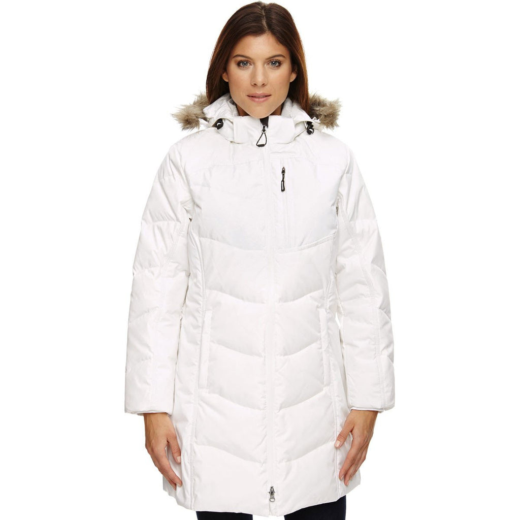 North End Women's Winter White Boreal Down Jacket with Faux Fur Trim
