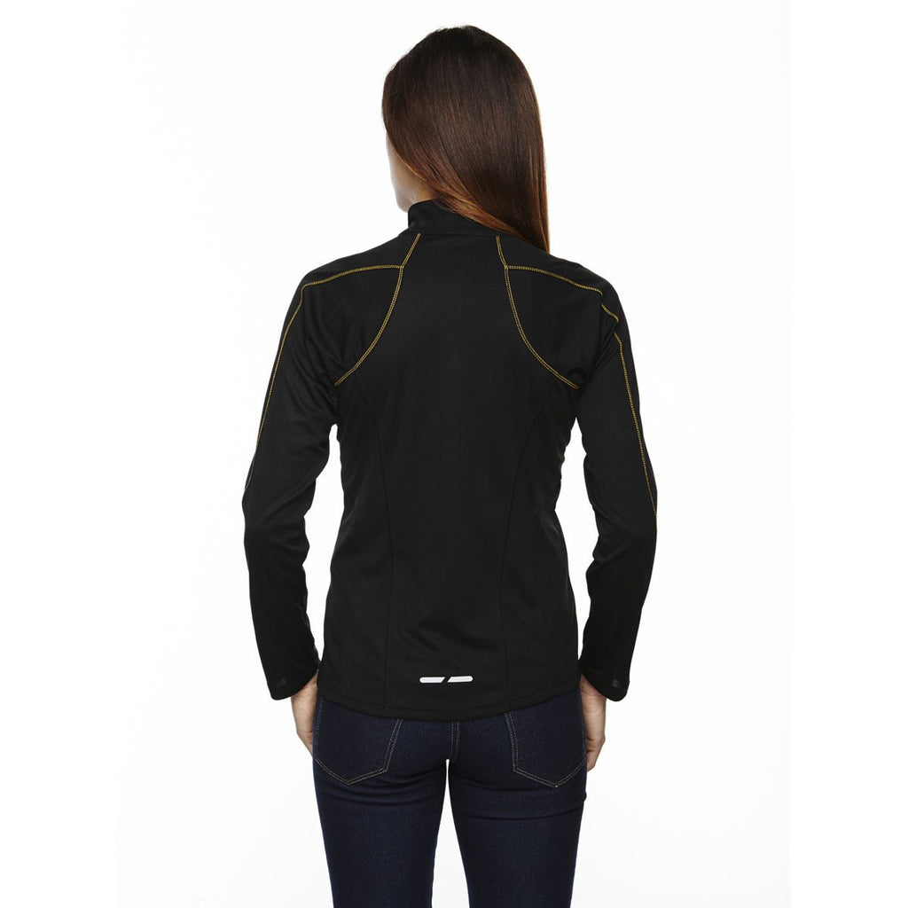 North End Women's Black/Campus Gold Radar Half-Zip Performance Long-Sleeve Top