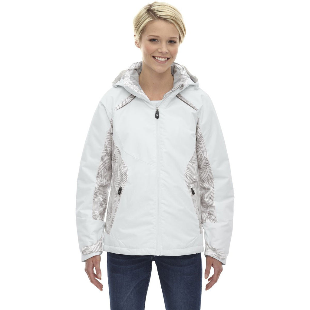 North End Women's Winter White Linear Insulated Jacket with Print