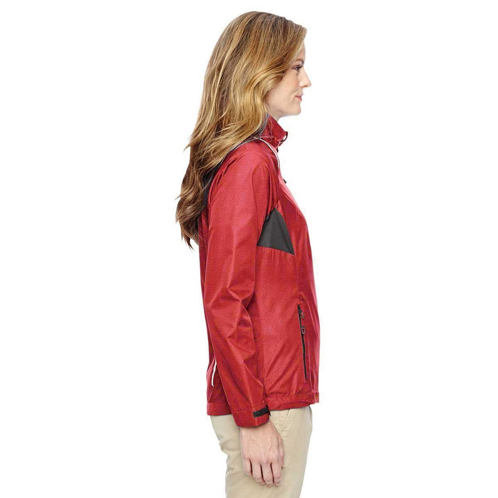 North End Women's Flame Red Sustain Lightweight Recycled Polyester Dobby Jacket with Print