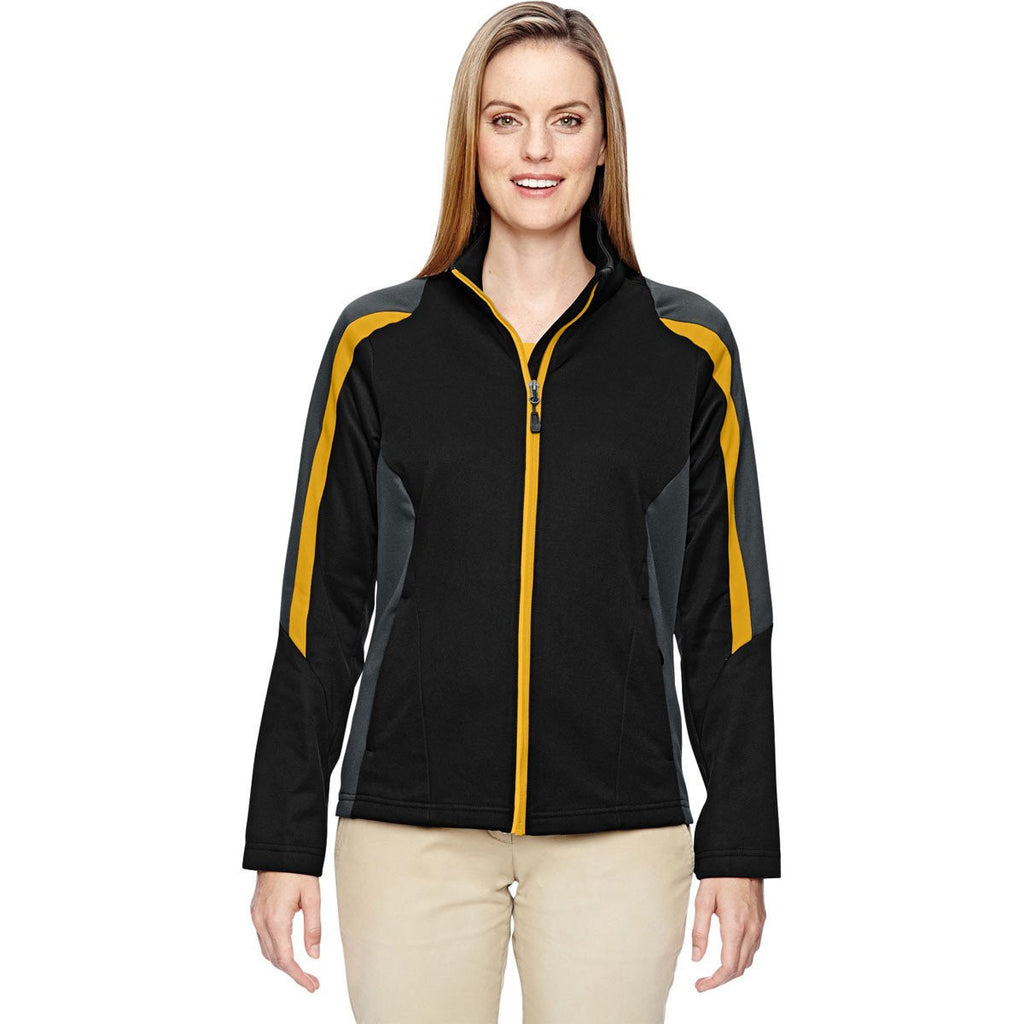 North End Women's Black/Campus Gold Strike Colorblock Fleece Jacket