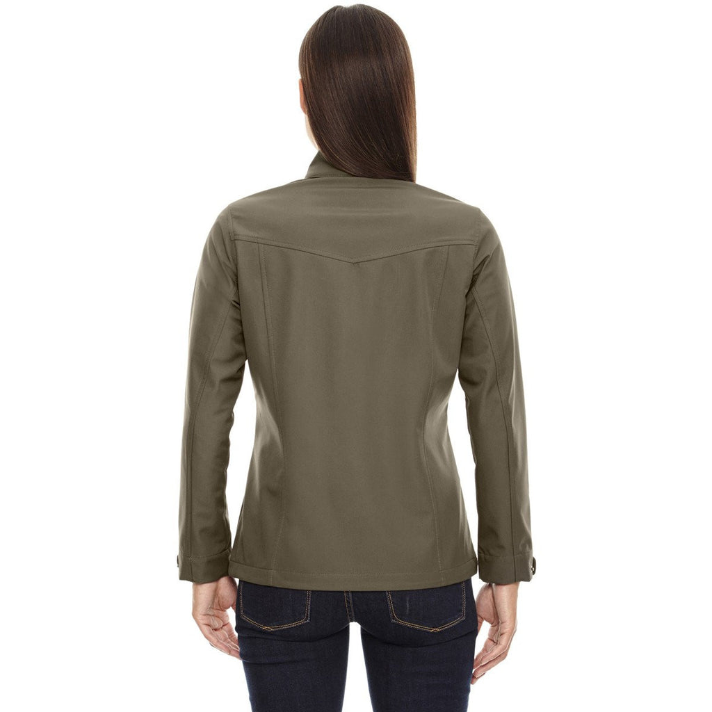 North End Women's Dark Oakmoss Forecast Three-Layer Light Bonded Travel Jacket