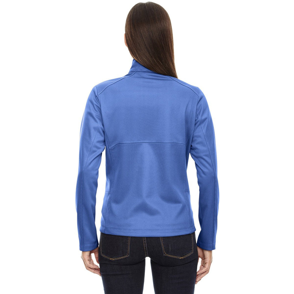North End Women's Nautical Blue Trace Printed Fleece Jacket