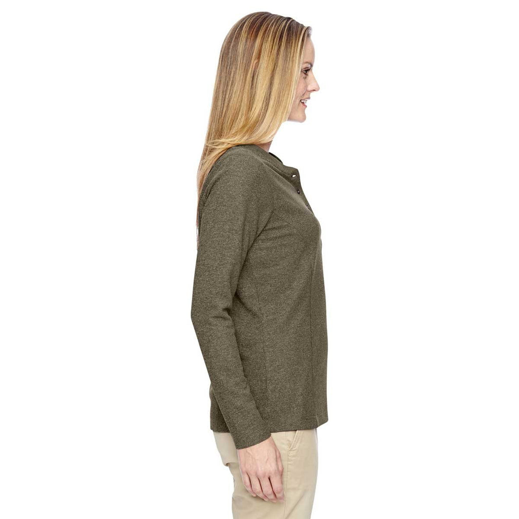 North End Women's Dark Oakmoss Excursion Nomad Performance Waffle Henley