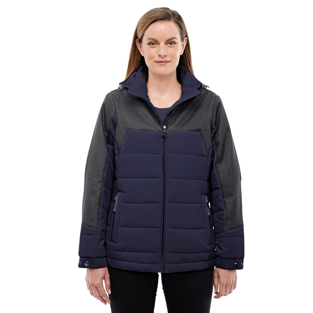 North End Women's Navy/Dark Graphite Insulated Jacket with Melange Print