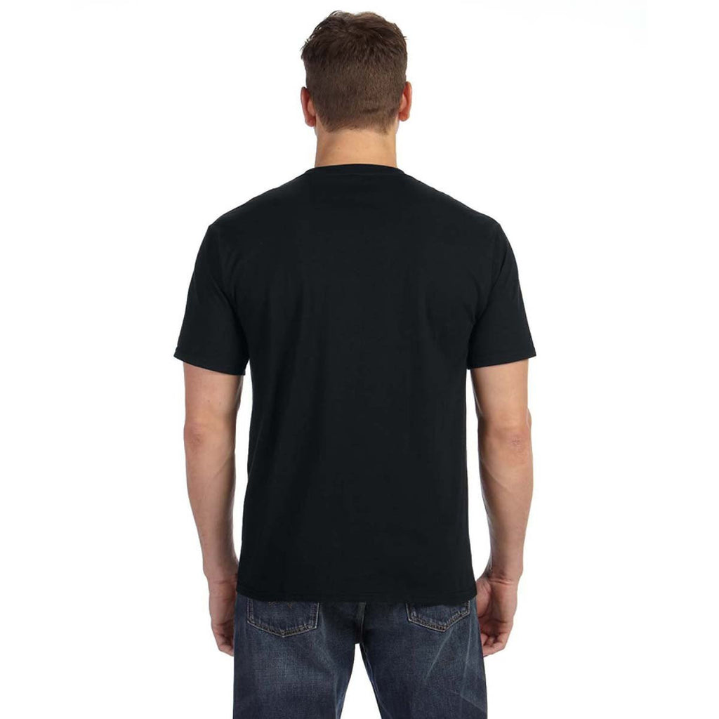 Anvil Men's Black Midweight Pocket T-Shirt