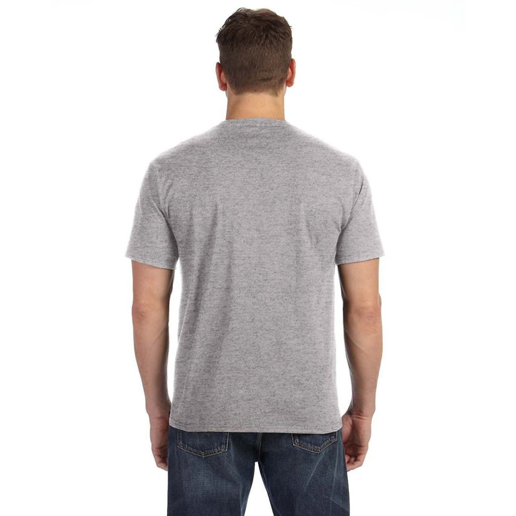 Anvil Men's Heather Grey Midweight Pocket T-Shirt