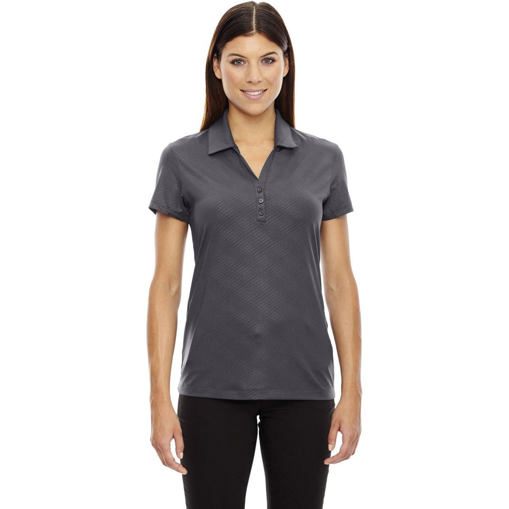 North End Women's Black Silk Stretch Embossed Print Polo