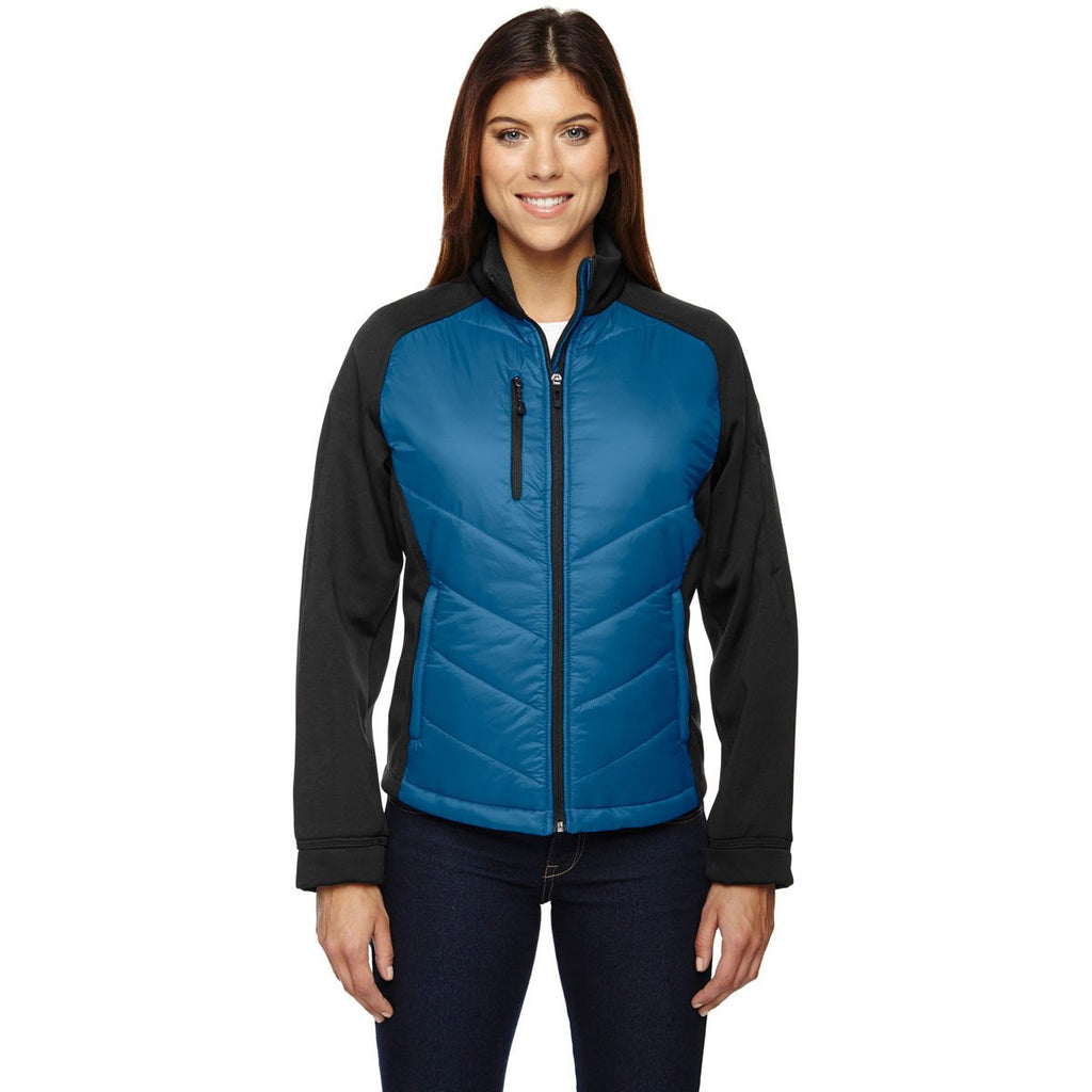 North End Women's Olympic Blue Epic Insulated Hybrid Bonded Fleece Jacket