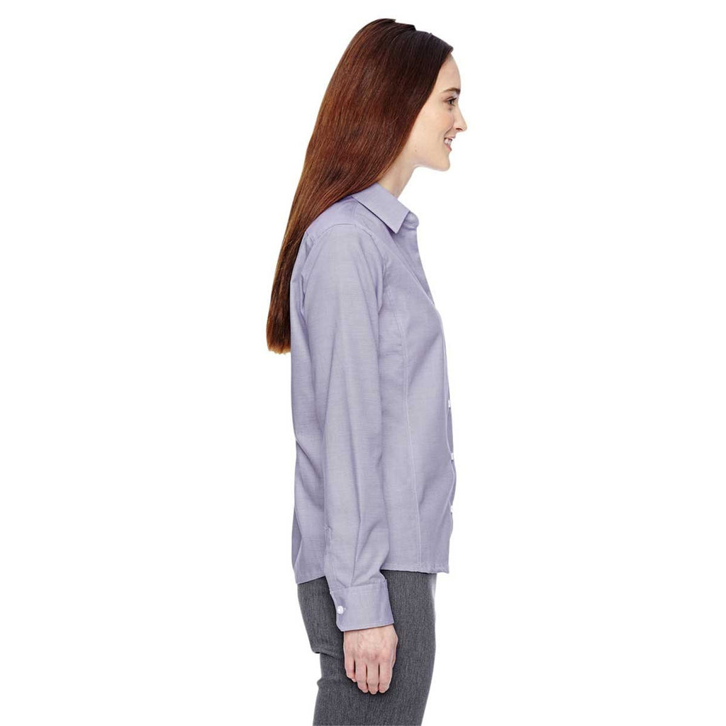 North End Women's Royal Purple Precise Two-Ply 80'S Dobby Taped Shirt