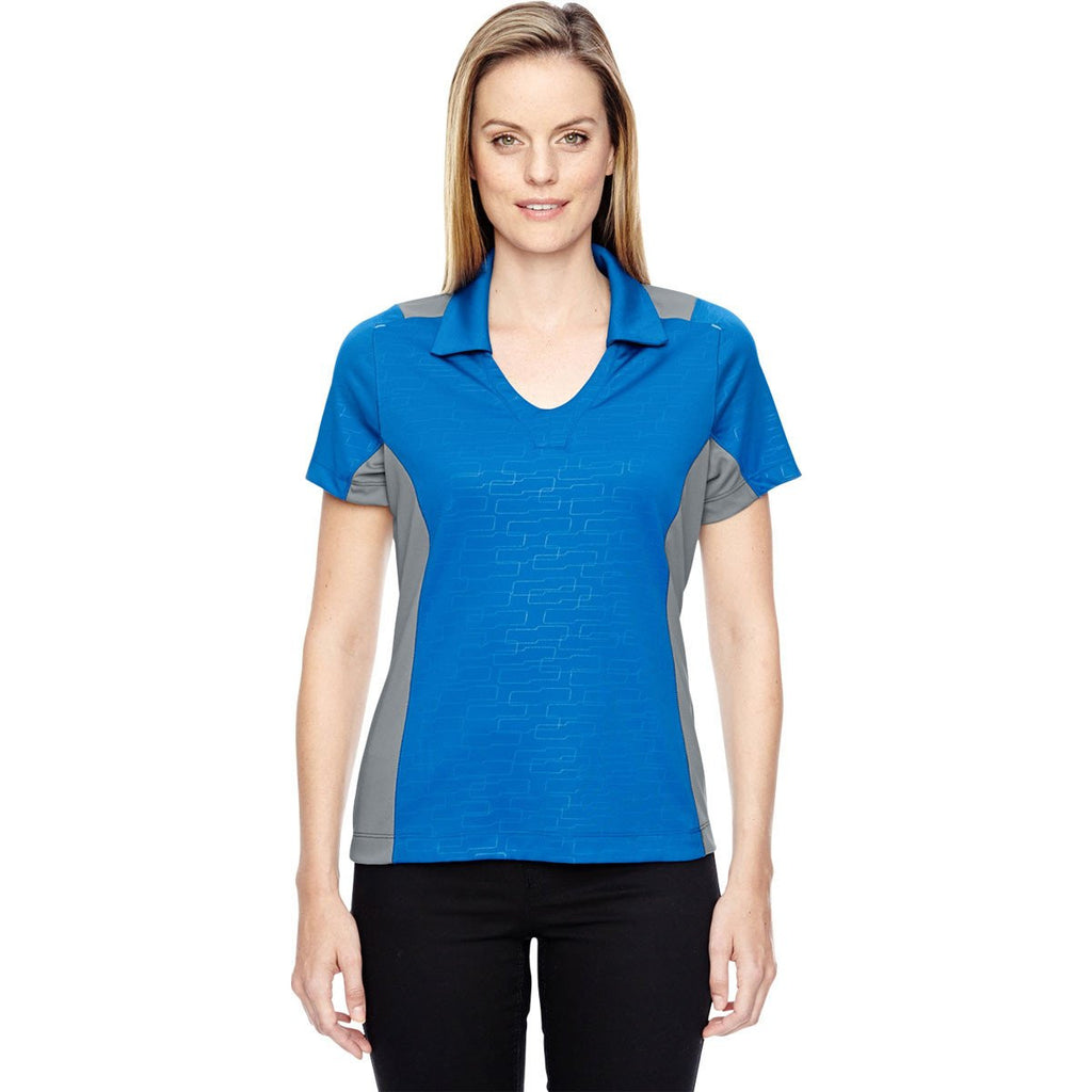 North End Women's Olympic Blue Performance Embossed Print Polo