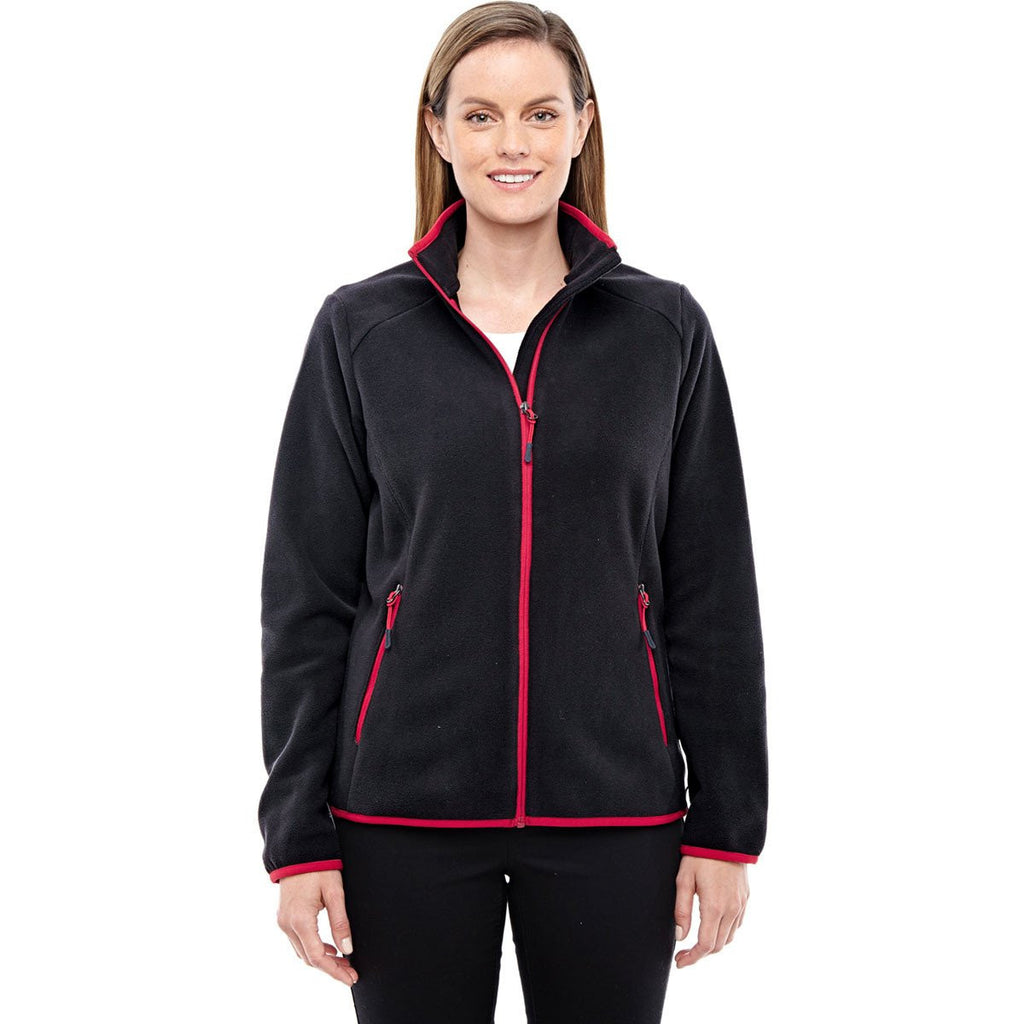 North End Women's Black/Olympic Red Fleece Jacket