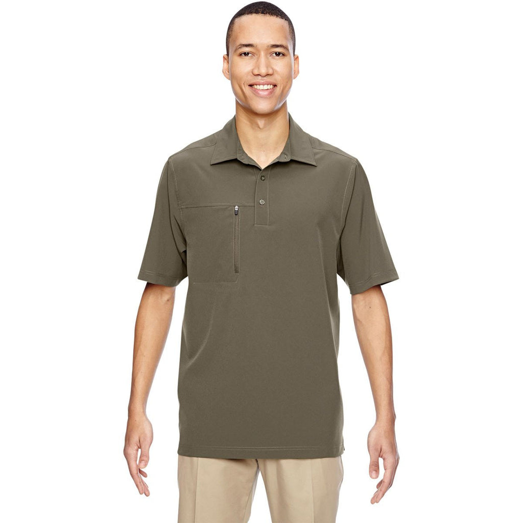 North End Men's Dark Oakmoss Excursion Crosscheck Performance Woven Polo