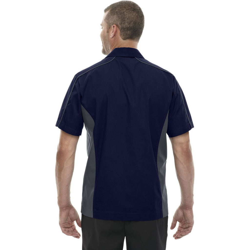 North End Men's Classic Navy Tall Fuse Colorblock Twill Shirt
