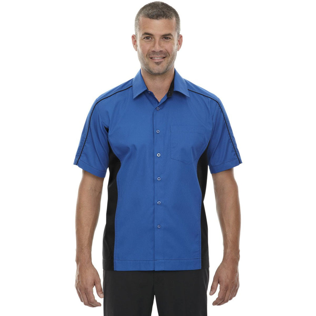North End Men's True Royal Tall Fuse Colorblock Twill Shirt