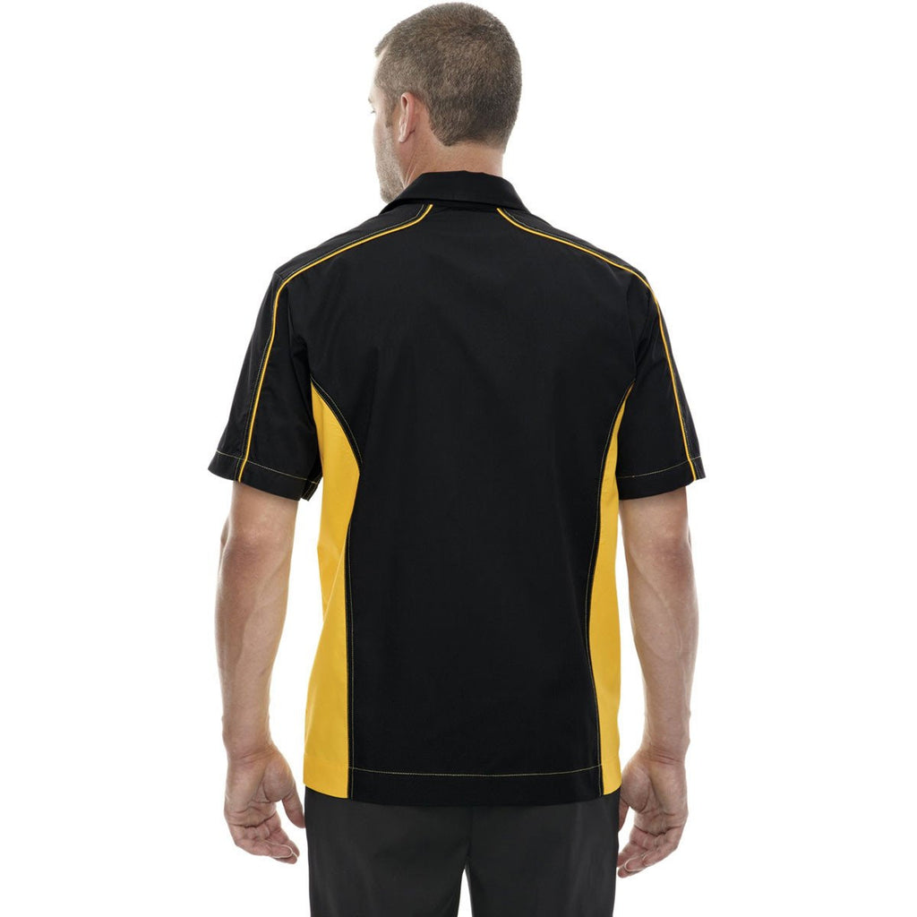 North End Men's Black/Campus Gold Fuse Colorblock Twill Shirt