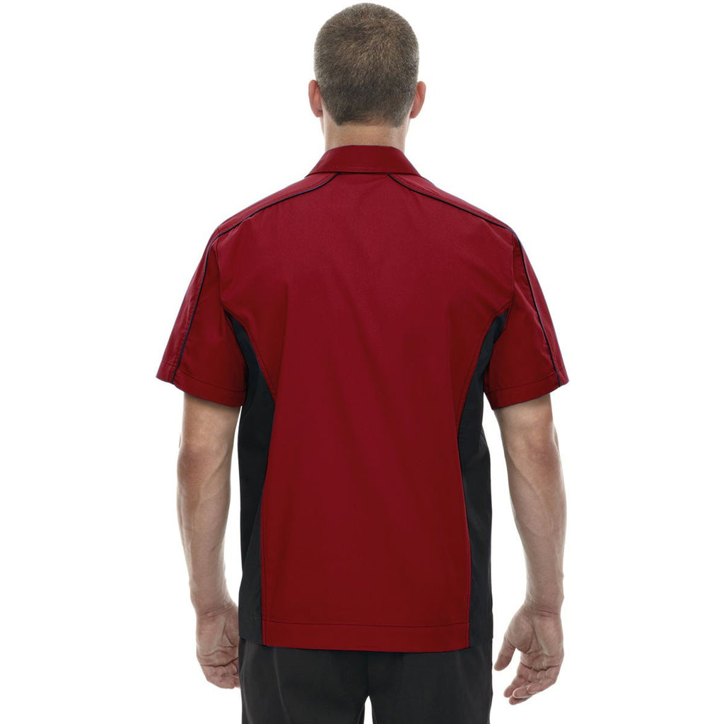 North End Men's Classic Red Fuse Colorblock Twill Shirt