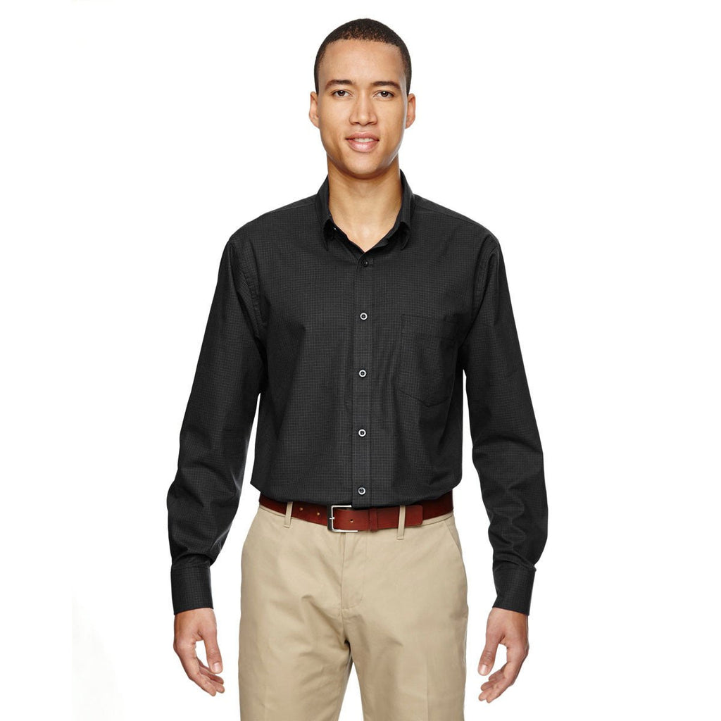 North End Men's Black Paramount Twill Checkered Shirt