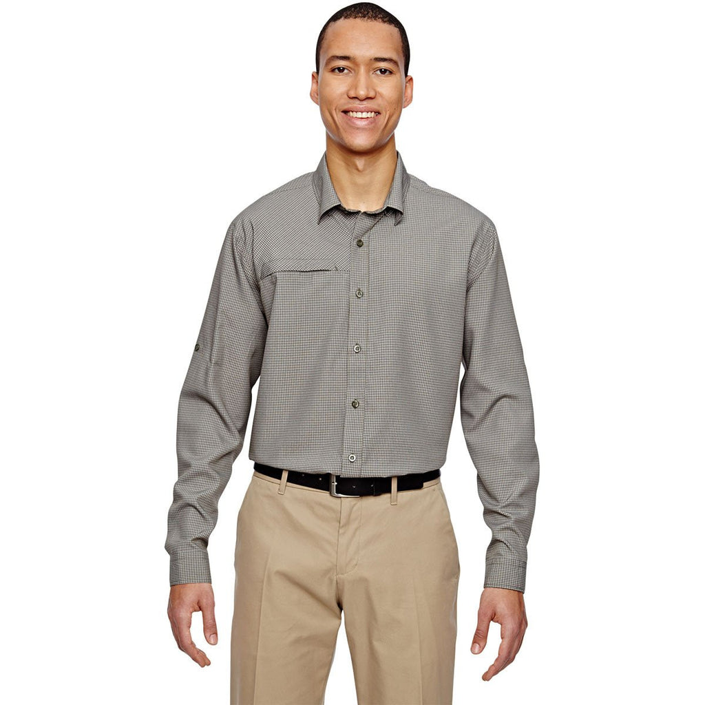 North End Men's Dark Oakmoss Excursion F.B.C. Textured Performance Shirt