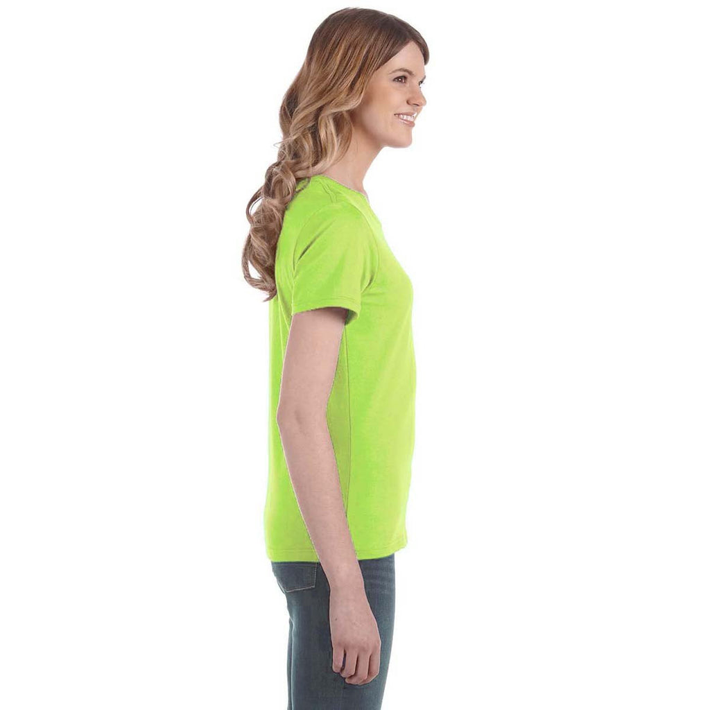 Anvil Women's Neon Green Lightweight T-Shirt