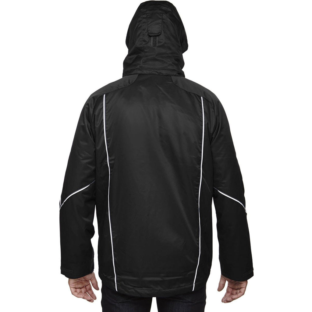 North End Men's Black Angle 3-In-1 Jacket with Bonded Fleece Liner