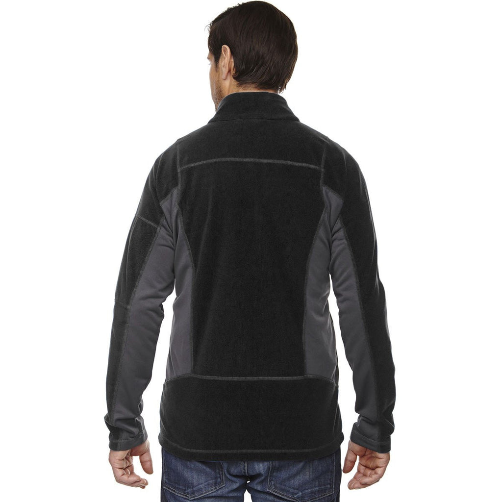 North End Men's Black Generate Textured Fleece Jacket