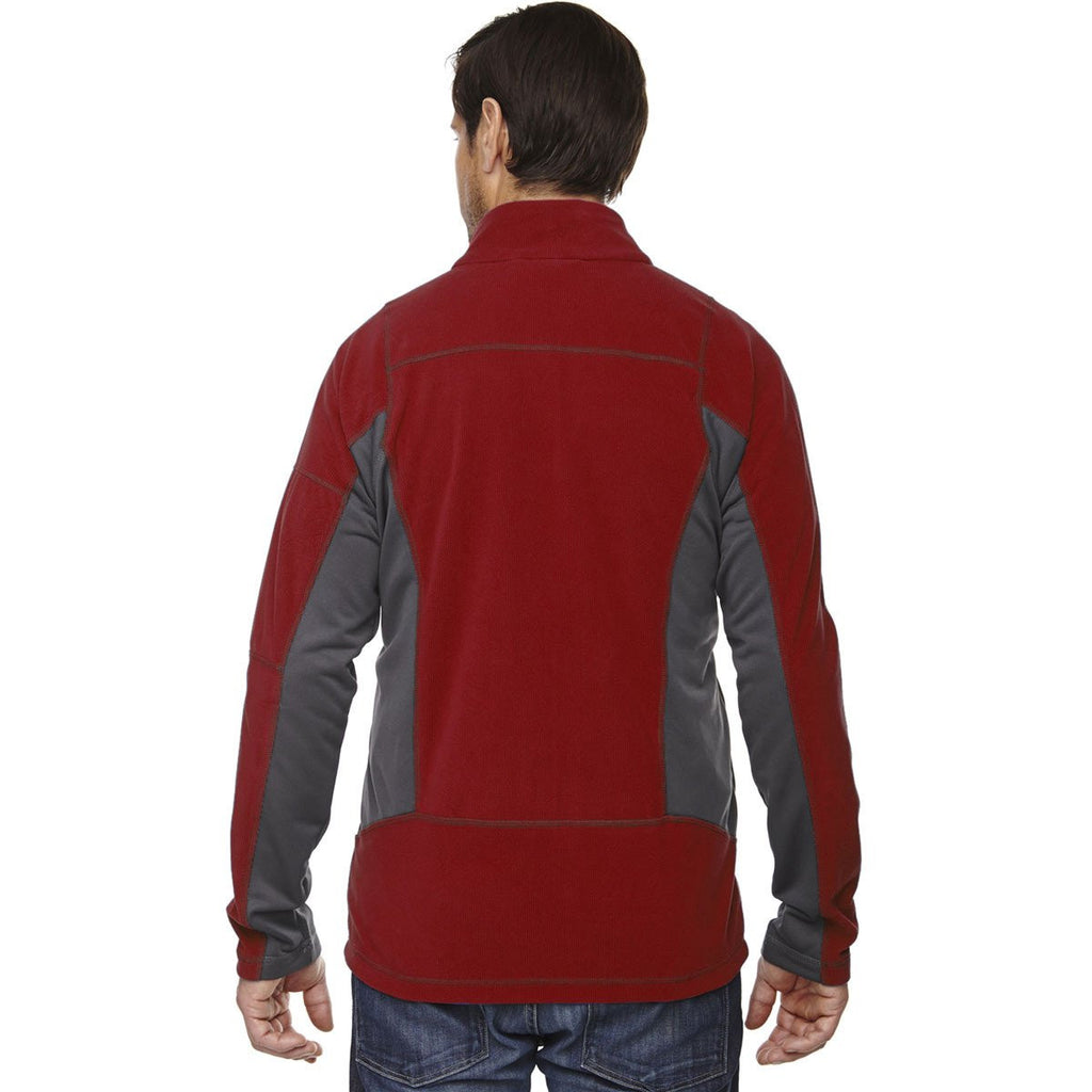 North End Men's Classic Red Generate Textured Fleece Jacket