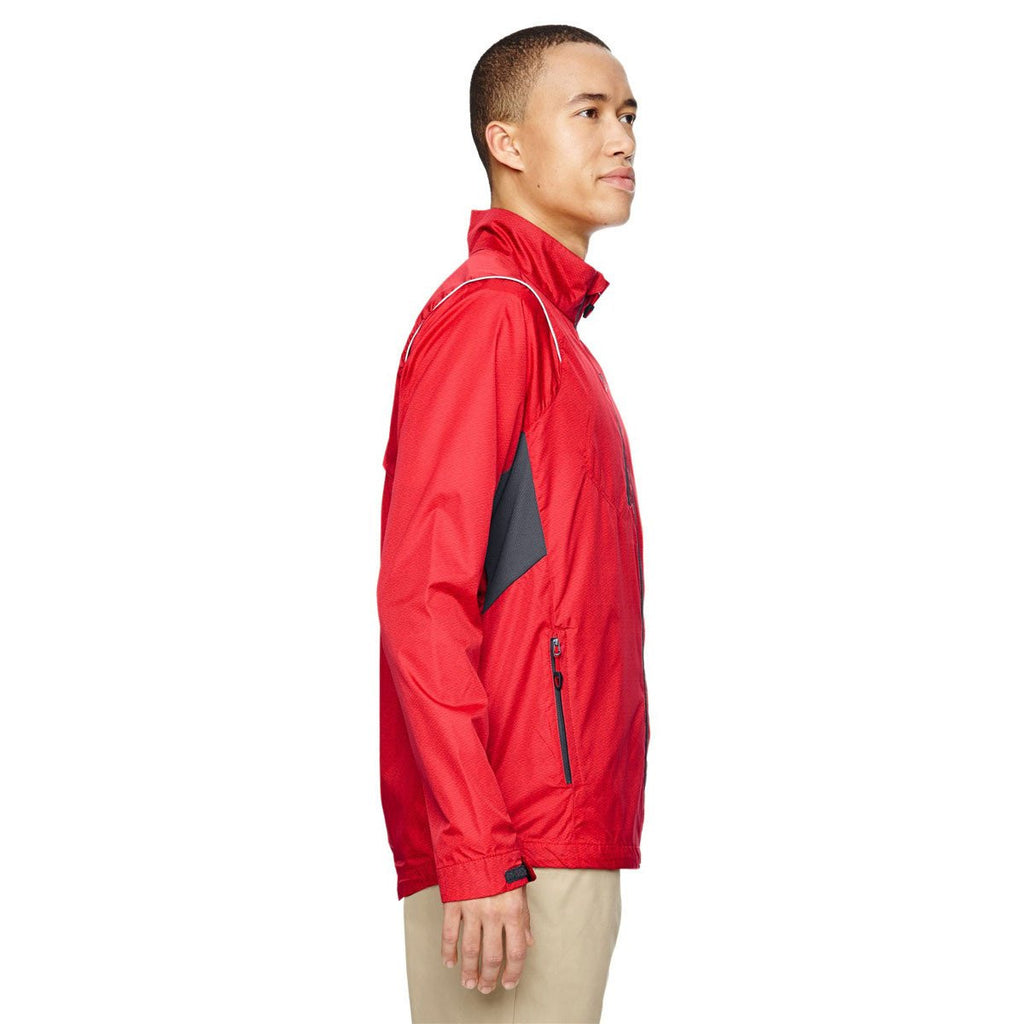 North End Men's Flame Red Sustain Lightweight Dobby Jacket with Print