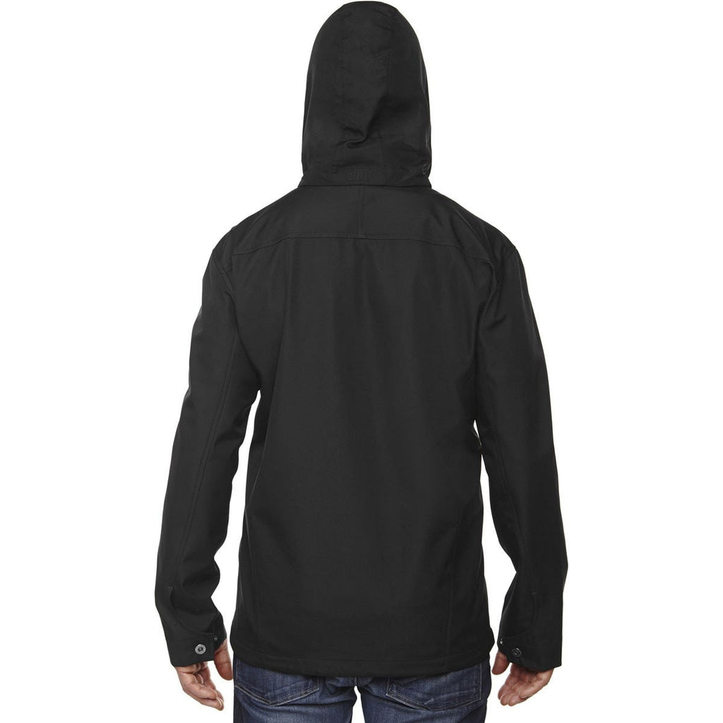 North End Men's Black Forecast Three-Layer Travel Soft Shell Jacket