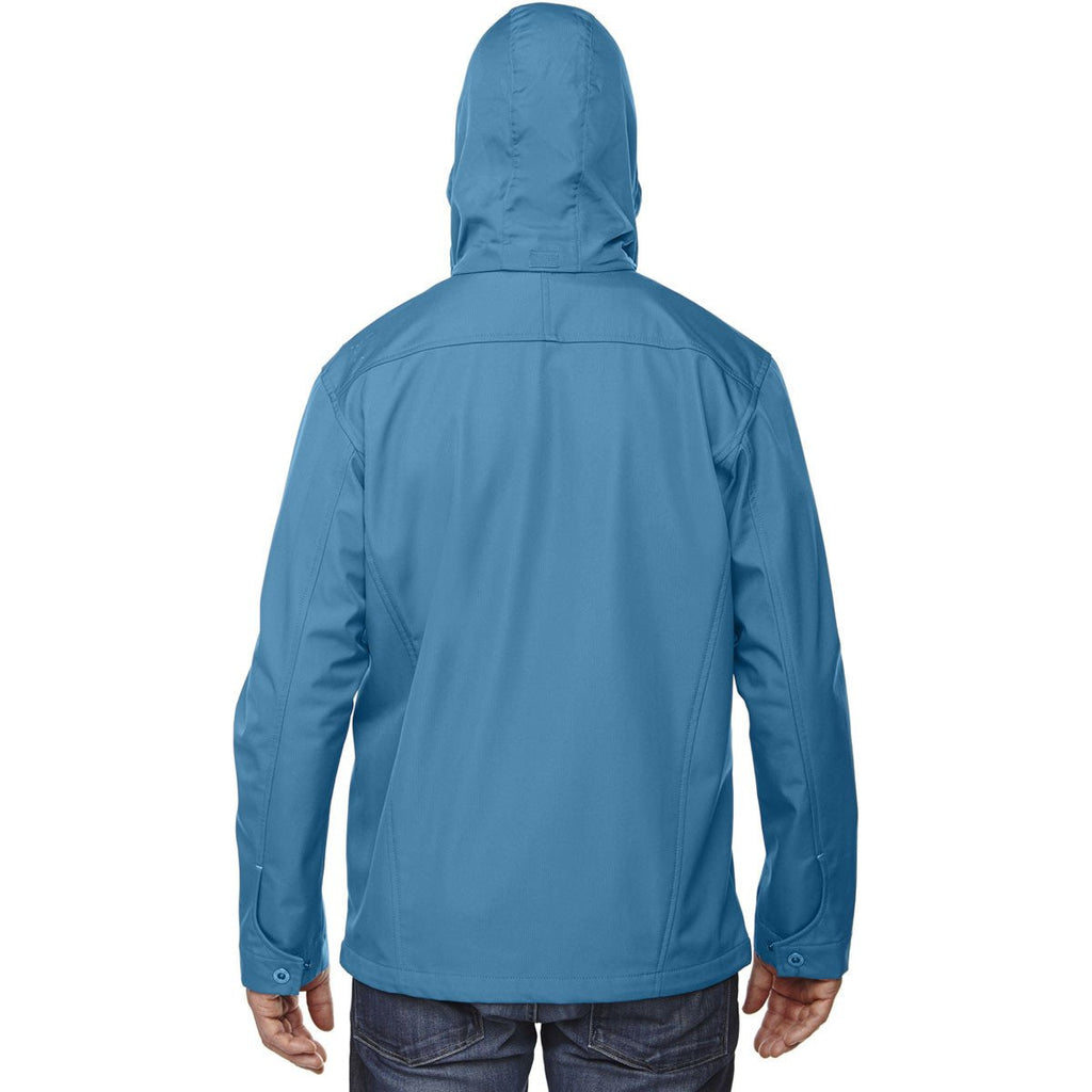 North End Men's Blue Ash Forecast Three-Layer Travel Soft Shell Jacket