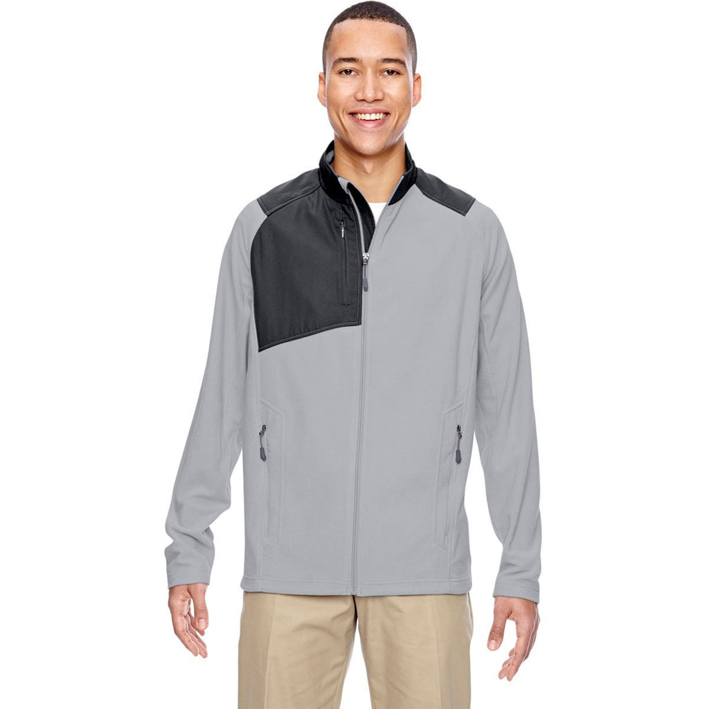 North End Men's Silver Excursion Trail Fabric-Block Fleece Jacket