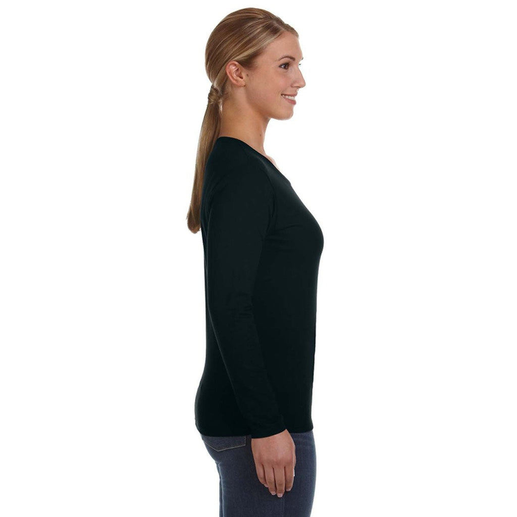 Anvil Women's Black Lightweight Long-Sleeve T-Shirt