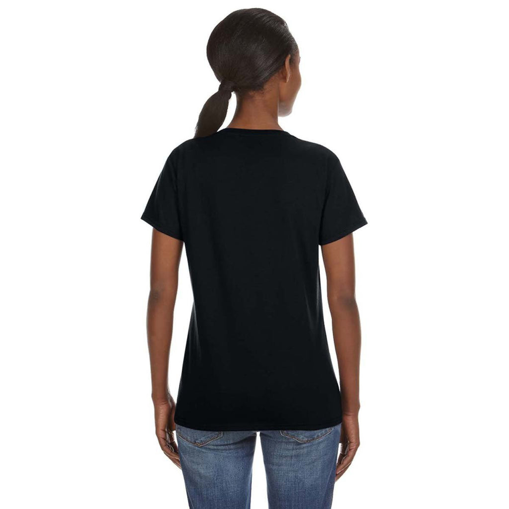Anvil Women's Black Lightweight V-Neck T-Shirt