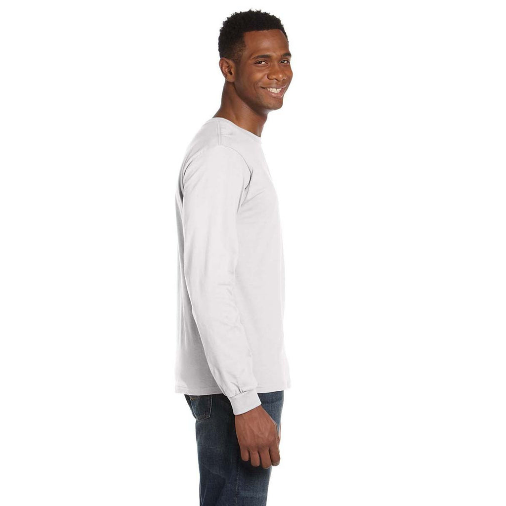 Anvil Men's White Lightweight Long-Sleeve T-Shirt