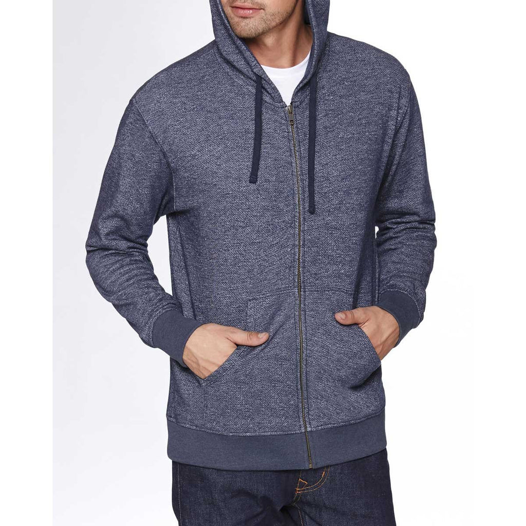 Next Level Unisex Midnight Navy Denim Fleece Full-Zip Hoodie