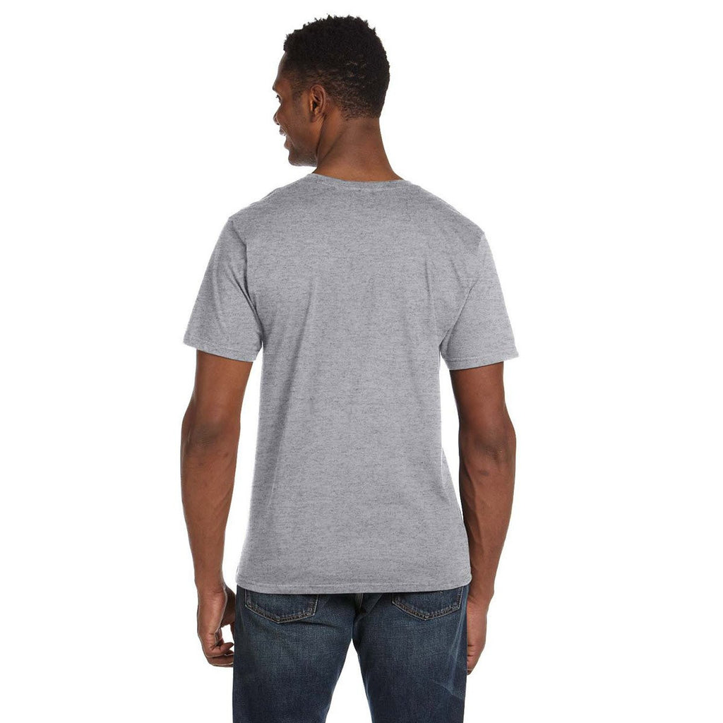 Anvil Men's Heather Grey Lightweight V-Neck T-Shirt