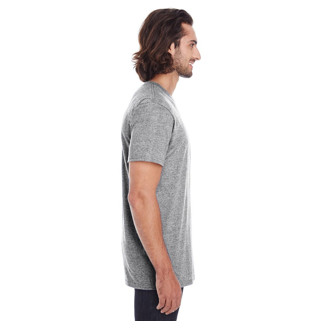 Anvil Men's Heather Grey Lightweight Pocket Tee