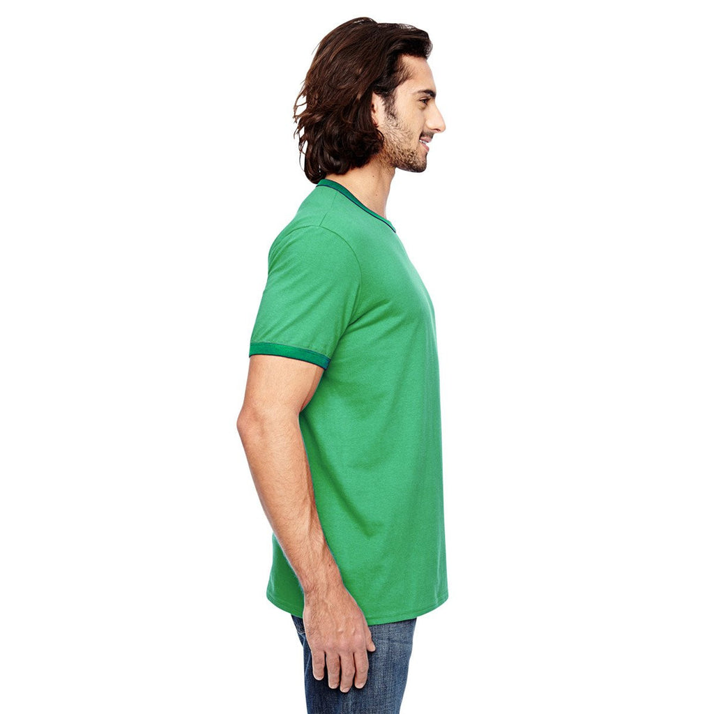 Anvil Men's Heather Grey/True Kelly Green Lightweight Ringer T-Shirt