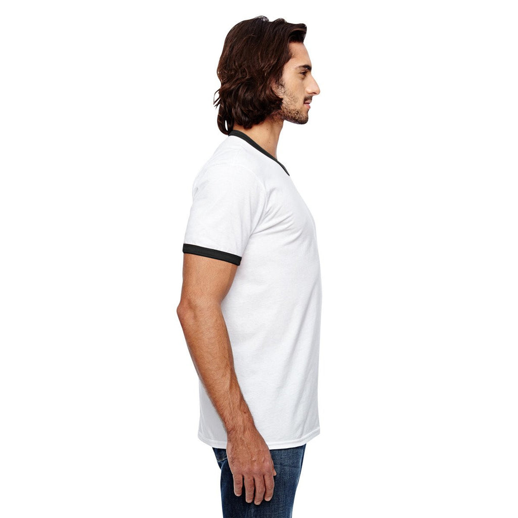 Anvil Men's White/Black Lightweight Ringer T-Shirt