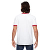 Anvil Men's White/Red Lightweight Ringer T-Shirt
